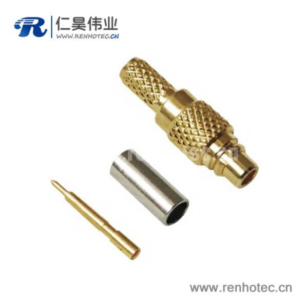 mmcx直式压接公头连接器接rf射频同轴线缆