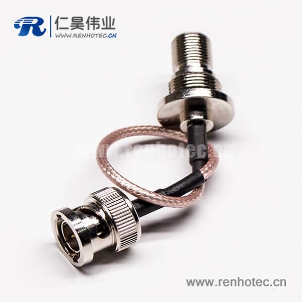 BNC接口公头直式转穿墙F母头射频同轴线缆RG179