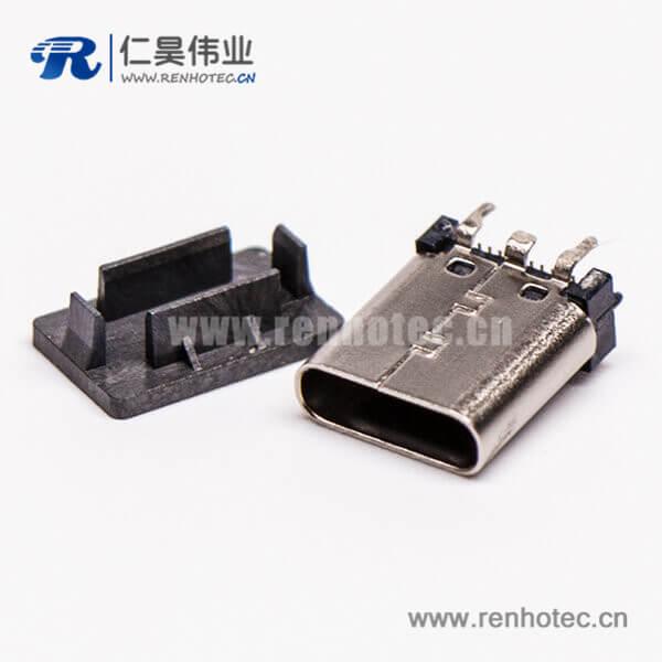 type c 直插母座单排直立式SMT插孔接PCB板