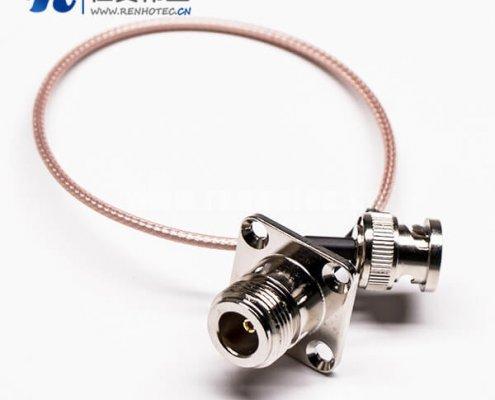 BNC电缆直式公头转4孔法兰N母头线材组装压接