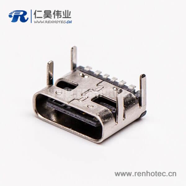 type c母头弯式贴板插板单排USB3.0连接器