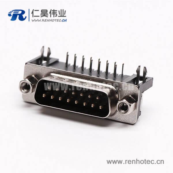 D-Sub15连接器插座公头弯式90°黑胶铆锁接PCB板