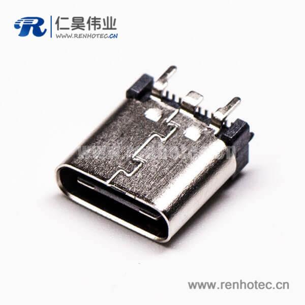 Type C USB3.1直立式180度母头贴板式接PCB板