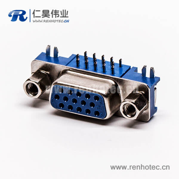 db连接器弯头蓝色胶芯母头5.08铆锁接pcb板