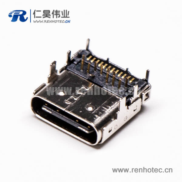usb 3.1 type c接口弯式90度母头贴板插板接PCB板