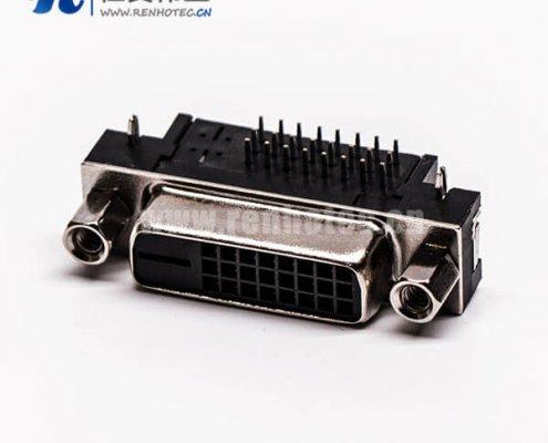 dvi母接口24+1弯角带螺纹黑色胶芯带鱼叉脚插板
