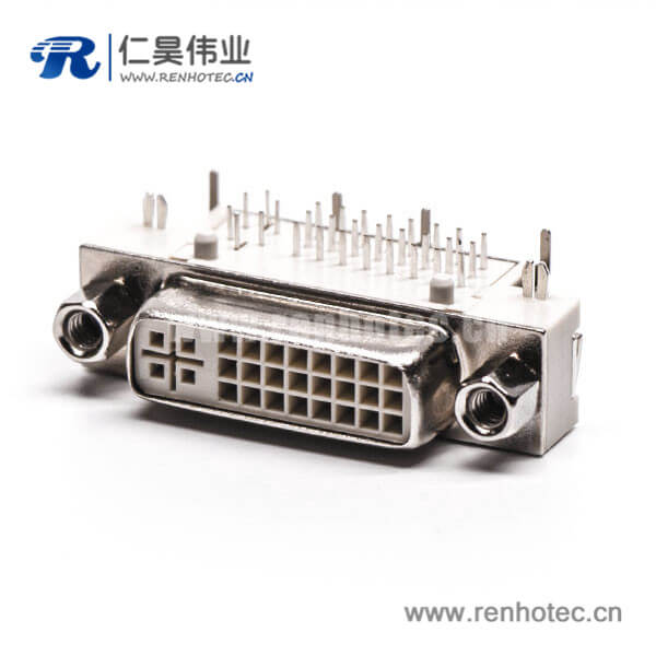 dvi接口显示器24+5母头弯式带螺母插板白色胶芯