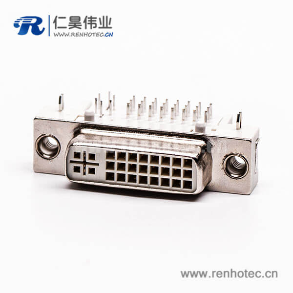 dvi面板安装24+5母头弯式插板带鱼叉接PCB板
