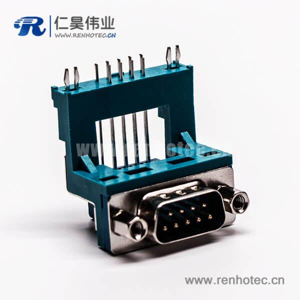 D Sub 射频连接器9针公头高架无卤绿胶铆锁