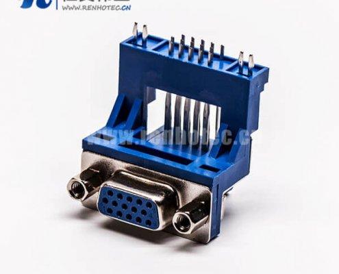 d-sub hd15针弯式母头高架双加强筋插孔