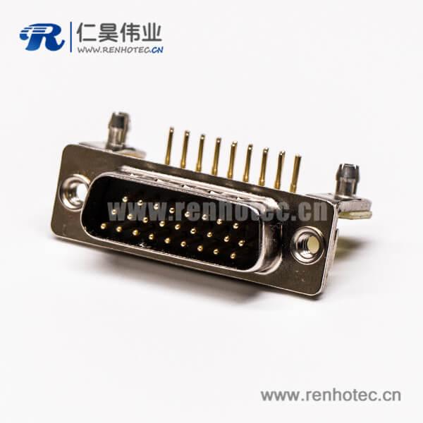 db26三排公头弯式金属支架铆锁插孔接PCB板式高密度连接器