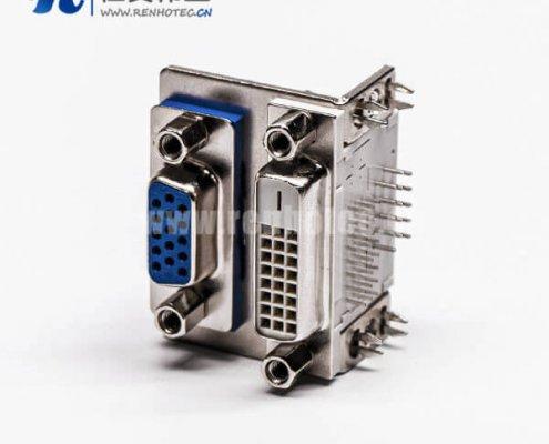 显示器DVI和D-SUB双胞胎24+1对HDR15母头弯角接PCB板
