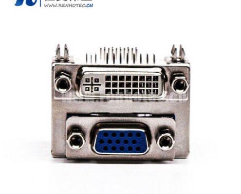 DVI接口与15针接口双胞胎蓝胶弯式母头接PCB板连接器