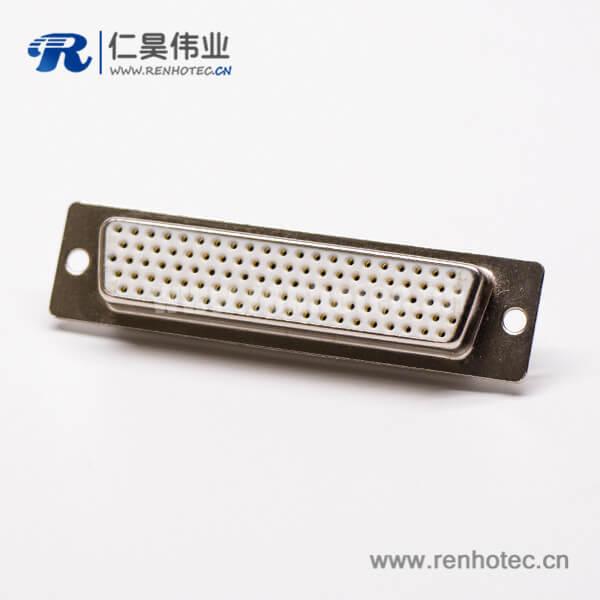 db母头焊线式104针高密度接线连接器直式光孔铆合