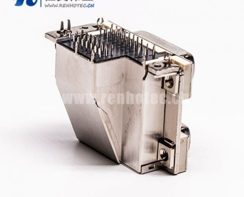 DVI 24 1与24 5针双胞胎白胶弯式鱼叉脚母头接PCB板连接器
