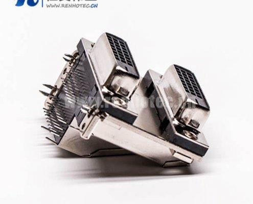 DVI24+1连接器双胞胎母头弯式鱼叉插PCB板连接器