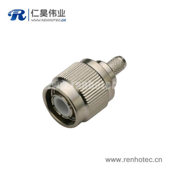tnc射频连接器反极直式插头压接同轴线缆RG400