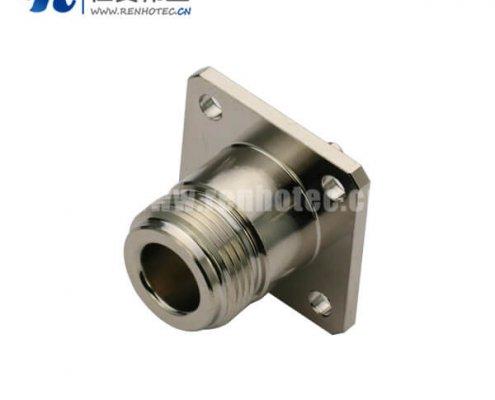 n头母头射频同轴插座4孔法兰盘面板连接线UT141