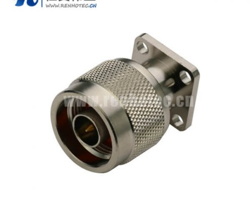 n头公头直式射频同轴连接器4孔法兰盘面板安装