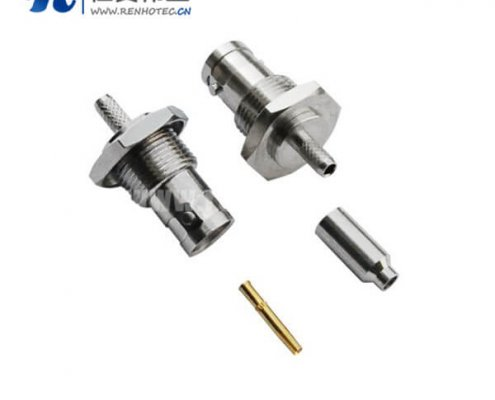 BNC压接直式母头锌合金接线射频同轴连接器
