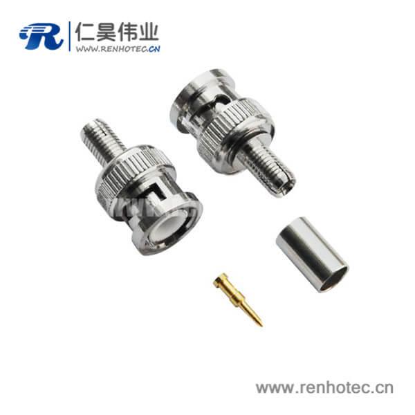 压接式BNC接线射频连接器直式公头