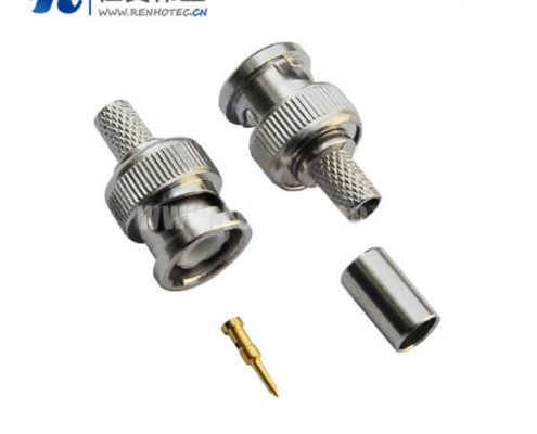 bnc公头连接器压接式50欧姆和75欧姆直式射频同轴