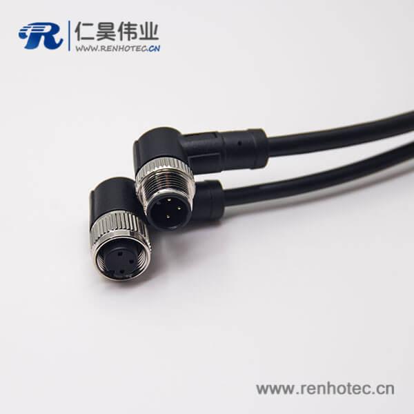 m12电缆弯母头3芯不带屏蔽工业防水连接器