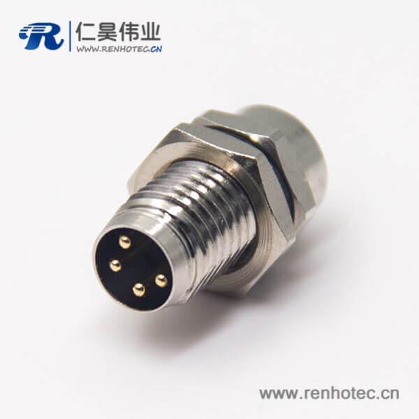 传感器接头m8圆形连接器4pin公头插座焊线防水前锁板