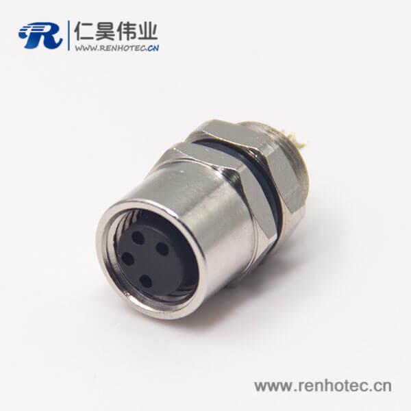m8螺纹防水接头母头直式4孔航空防水插座后锁板焊线式
