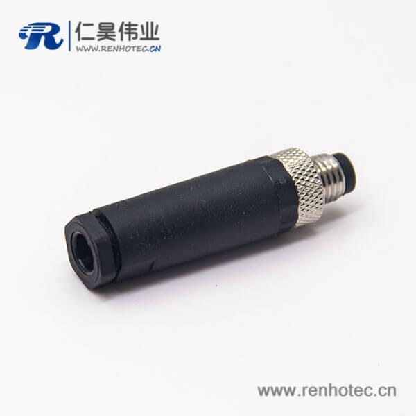 塑料m8连接器4芯公插直式不带屏蔽锁接接线