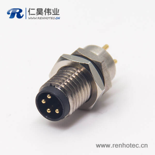m8 pcb 连接器4pin直式公头前锁板防水插座焊线式