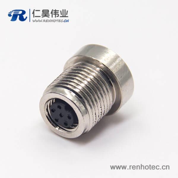 M8 6芯连接器A型前锁插座直式母头圆形连接器焊线