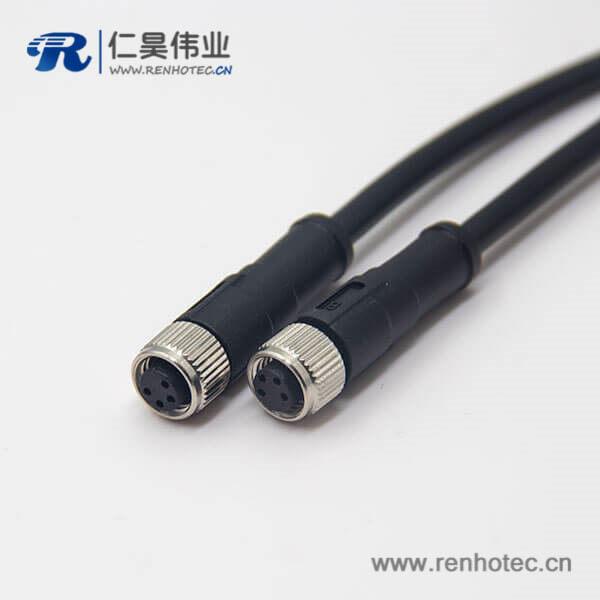 m8 4芯直式母头注塑线双边组装电缆