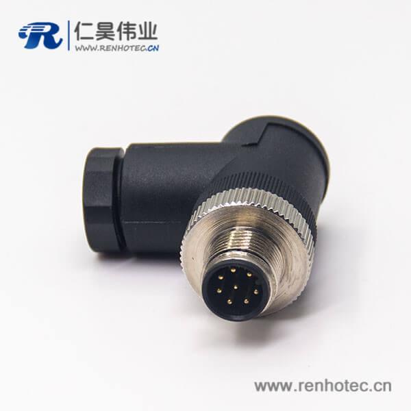 m12 传感器接线插头弯式公头组装式接线