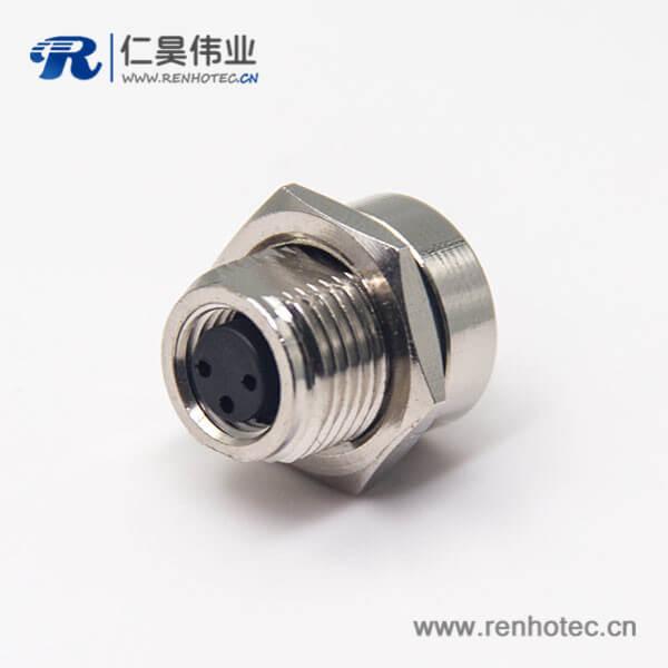 传感器m8连接器直式3pin母头插座前锁板防水接头PCB板安装