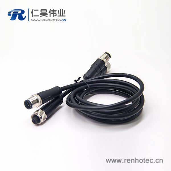 m12传感器电缆C扣5芯母头双边工业防水传感器