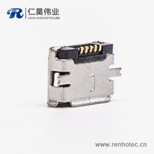 usb micro接口5pin母座直式全贴板SMT