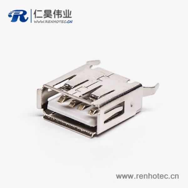 usb/a母座直插接PCB板白色胶芯弯脚