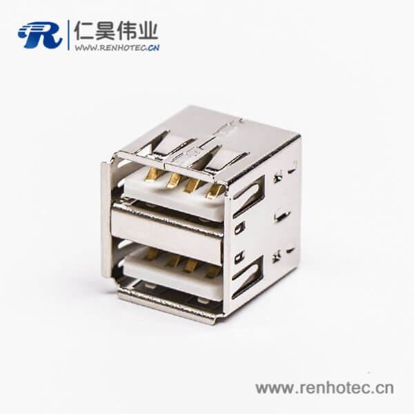 usb双层母座直式插板白色胶芯type a