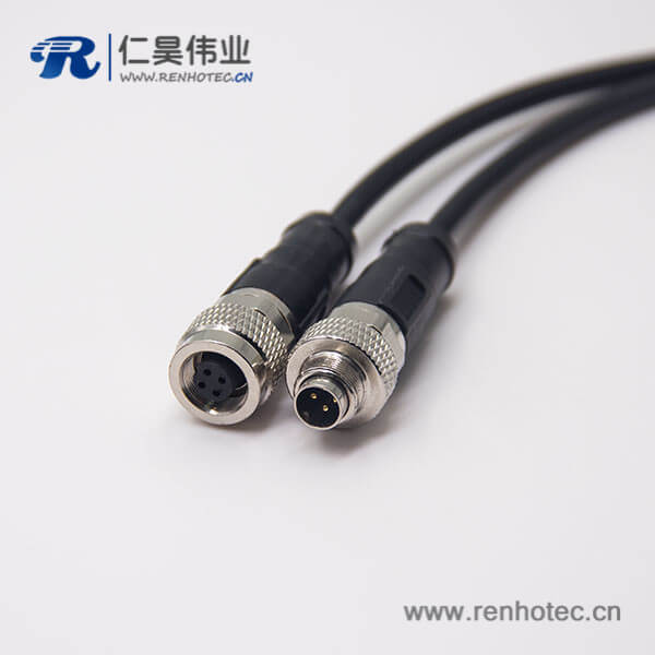 4芯电缆连接器直式公转母组装电缆接头