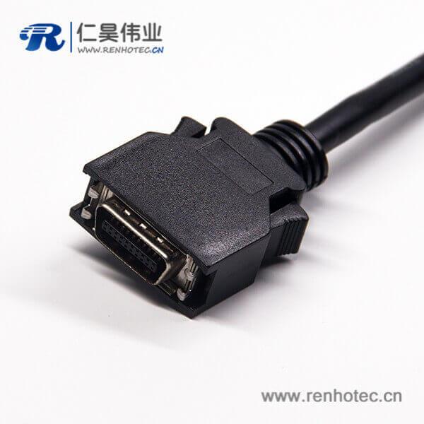 20针SCSI接头HPCN型黑色塑胶壳双边线公转公直式按键卡勾式连接线1米