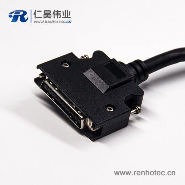 50针SCSI连接线HPCN型黑色塑胶壳公转公直式螺丝锁接双边线1米