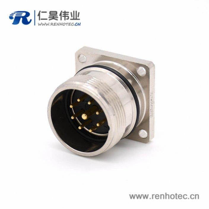 方型连接器 M623 9芯直式公头接线四孔法兰插座