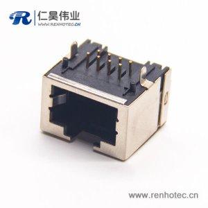 rj45网口座8p8c弯式半包带屏蔽插PCB板