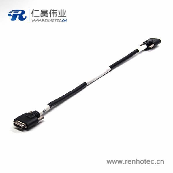 SCSI 线HPCN型26芯黑色塑胶壳公转公直式连接器螺丝锁接式双边线1米