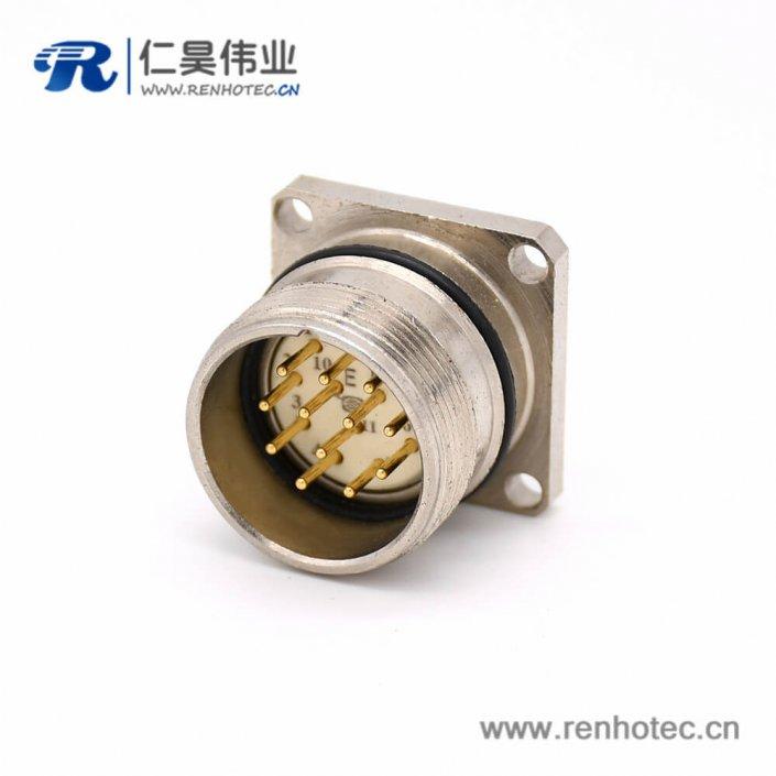 12芯连接器 M623 12芯公头直式接线四孔法兰插座