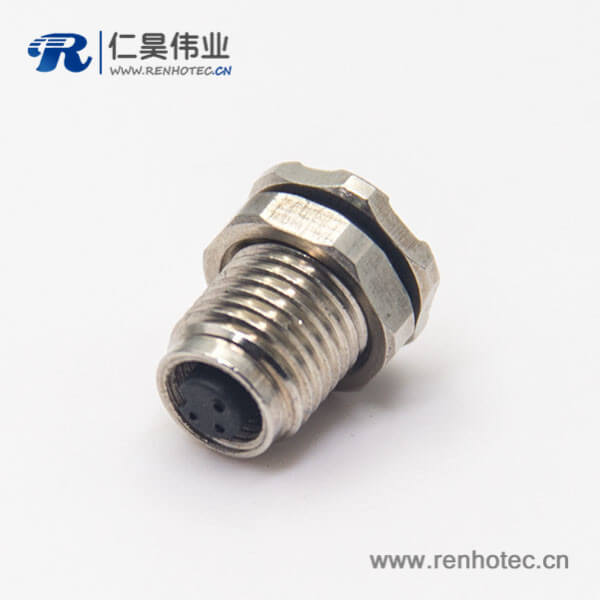 圆形防水m5连接器3pin母头插座防水焊线式前锁板面板安装