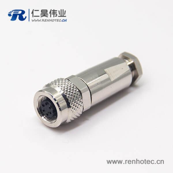 金属圆形连接器M9直式母头带屏蔽6芯金属组装接头