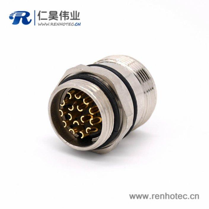 工业连接器插座 M623 16芯 直式板端接线公插座