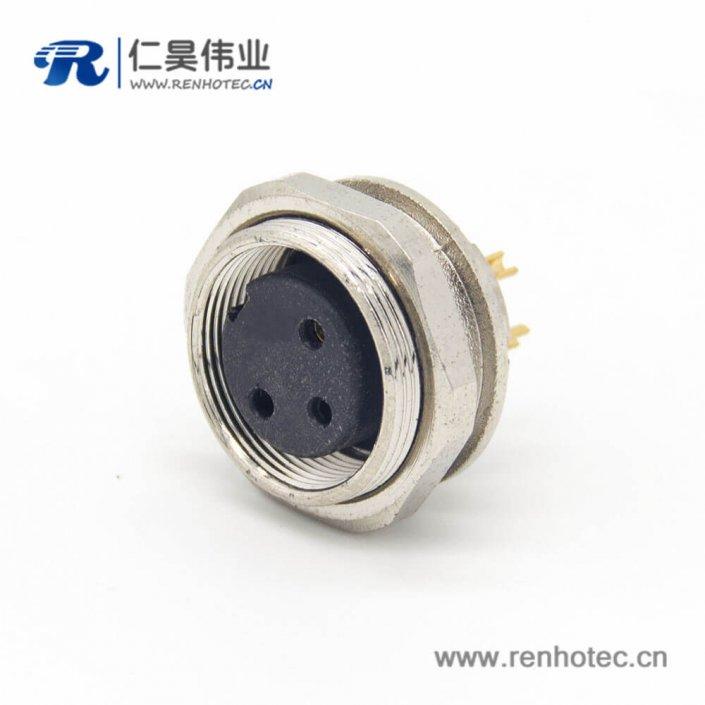 M16 3芯连接器直式母插座前锁穿墙面板安装焊线